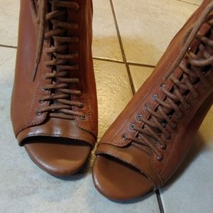 Sexy Cognac Leather Lace up Booties